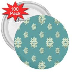 Geometric Snowflake Retro Snow Blue 3  Buttons (100 Pack)