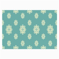 Geometric Snowflake Retro Snow Blue Large Glasses Cloth (2 Side) by AnjaniArt