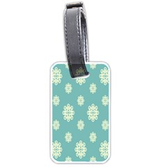 Geometric Snowflake Retro Snow Blue Luggage Tags (one Side)