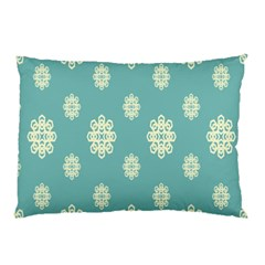 Geometric Snowflake Retro Snow Blue Pillow Case (two Sides) by AnjaniArt