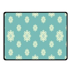 Geometric Snowflake Retro Snow Blue Double Sided Fleece Blanket (small)