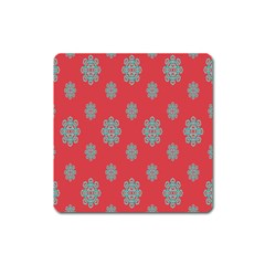 Geometric Snowflake Retro Red Square Magnet by AnjaniArt