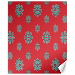 Geometric Snowflake Retro Red Canvas 11  X 14