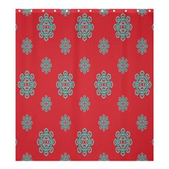 Geometric Snowflake Retro Red Shower Curtain 66  X 72  (large)  by AnjaniArt