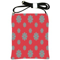 Geometric Snowflake Retro Red Shoulder Sling Bags by AnjaniArt