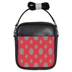 Geometric Snowflake Retro Red Girls Sling Bags by AnjaniArt