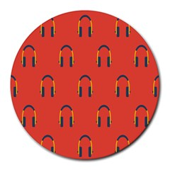Headphones Red Round Mousepads by AnjaniArt