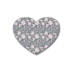 Gray Flower Floral Flowering Leaf Heart Coaster (4 Pack)  by AnjaniArt