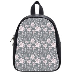 Gray Flower Floral Flowering Leaf School Bags (small)  by AnjaniArt