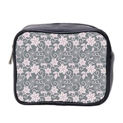 Gray Flower Floral Flowering Leaf Mini Toiletries Bag 2 Side by AnjaniArt