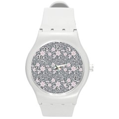 Gray Flower Floral Flowering Leaf Round Plastic Sport Watch (m) by AnjaniArt