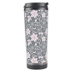 Gray Flower Floral Flowering Leaf Travel Tumbler by AnjaniArt