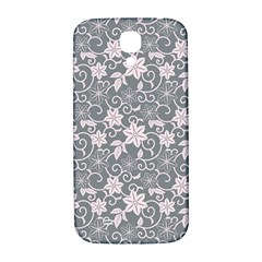 Gray Flower Floral Flowering Leaf Samsung Galaxy S4 I9500/i9505  Hardshell Back Case by AnjaniArt
