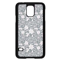 Gray Flower Floral Flowering Leaf Samsung Galaxy S5 Case (black)