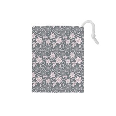 Gray Flower Floral Flowering Leaf Drawstring Pouches (small)  by AnjaniArt
