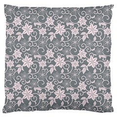 Gray Flower Floral Flowering Leaf Standard Flano Cushion Case (one Side) by AnjaniArt