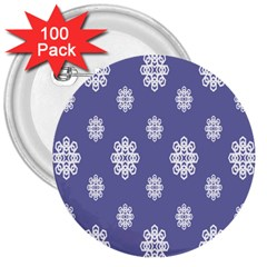 Geometric Snowflake Retro Purple 3  Buttons (100 Pack)