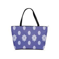 Geometric Snowflake Retro Purple Shoulder Handbags by AnjaniArt