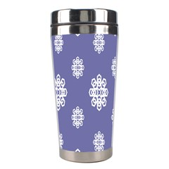 Geometric Snowflake Retro Purple Stainless Steel Travel Tumblers by AnjaniArt