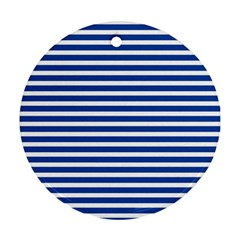 Horizontal Stripes Dark Blue Ornament (round) by AnjaniArt