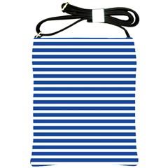 Horizontal Stripes Dark Blue Shoulder Sling Bags by AnjaniArt