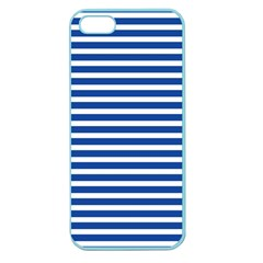 Horizontal Stripes Dark Blue Apple Seamless Iphone 5 Case (color) by AnjaniArt