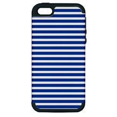 Horizontal Stripes Dark Blue Apple Iphone 5 Hardshell Case (pc+silicone) by AnjaniArt