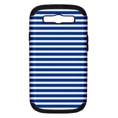 Horizontal Stripes Dark Blue Samsung Galaxy S Iii Hardshell Case (pc+silicone) by AnjaniArt