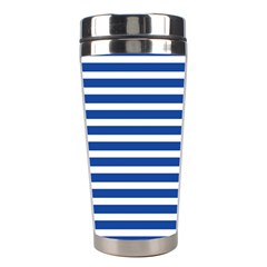 Horizontal Stripes Dark Blue Stainless Steel Travel Tumblers by AnjaniArt