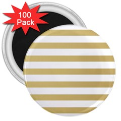 Horizontal Stripes Dark Brown Grey 3  Magnets (100 Pack) by AnjaniArt