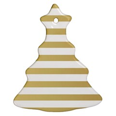 Horizontal Stripes Dark Brown Grey Christmas Tree Ornament (two Sides) by AnjaniArt