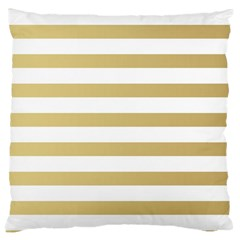 Horizontal Stripes Dark Brown Grey Large Cushion Case (two Sides) by AnjaniArt