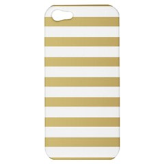 Horizontal Stripes Dark Brown Grey Apple Iphone 5 Hardshell Case by AnjaniArt