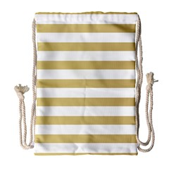 Horizontal Stripes Dark Brown Grey Drawstring Bag (large) by AnjaniArt