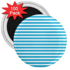 Horizontal Stripes Blue 3  Magnets (100 Pack)
