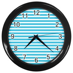 Horizontal Stripes Blue Wall Clocks (black) by AnjaniArt
