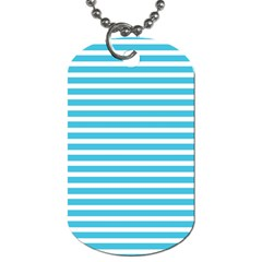 Horizontal Stripes Blue Dog Tag (one Side)