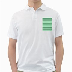 Horizontal Stripes Green Golf Shirts
