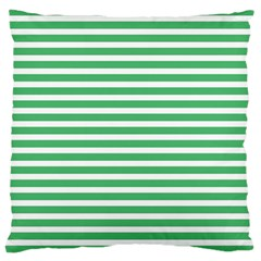 Horizontal Stripes Green Large Cushion Case (two Sides) by AnjaniArt