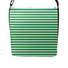 Horizontal Stripes Green Flap Messenger Bag (l)