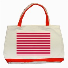 Horizontal Stripes Hot Pink Classic Tote Bag (red)