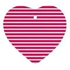 Horizontal Stripes Hot Pink Heart Ornament (two Sides)