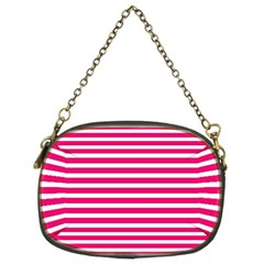 Horizontal Stripes Hot Pink Chain Purses (two Sides)  by AnjaniArt