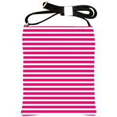 Horizontal Stripes Hot Pink Shoulder Sling Bags