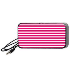 Horizontal Stripes Hot Pink Portable Speaker (black) by AnjaniArt