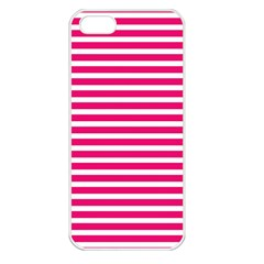 Horizontal Stripes Hot Pink Apple Iphone 5 Seamless Case (white) by AnjaniArt