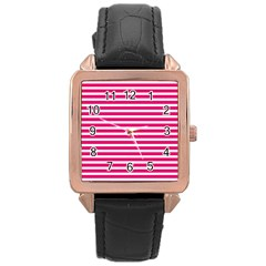 Horizontal Stripes Hot Pink Rose Gold Leather Watch