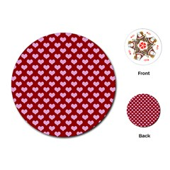 Hearts Love Valentine Pink Day Happy Wallpaper Playing Cards (round)
