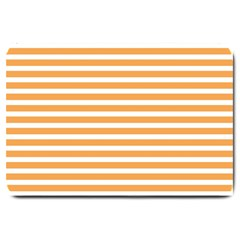 Horizontal Stripes Orange Large Doormat