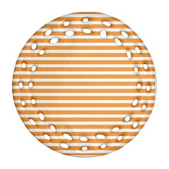 Horizontal Stripes Orange Round Filigree Ornament (two Sides) by AnjaniArt